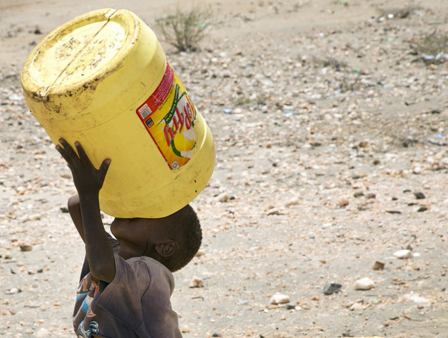 This is a boy drinking at another solar-powered borehole that is maintained and repaired by the Diocese of Lodwar, with support from CRS. Credit nancy McNally/CRS