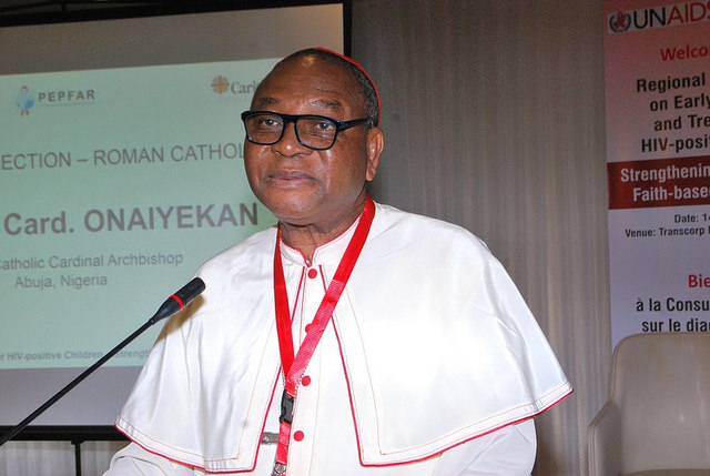 """Cardinal John Onaiyekan said, """"We all need to work together as different faiths, to share knowledge and pass on the right information to our congregations about HIV services to ensure that no child is born HIV positive, to ensure the right messages about HIV prevention and access to treatment services are shared with our congregations""""."""