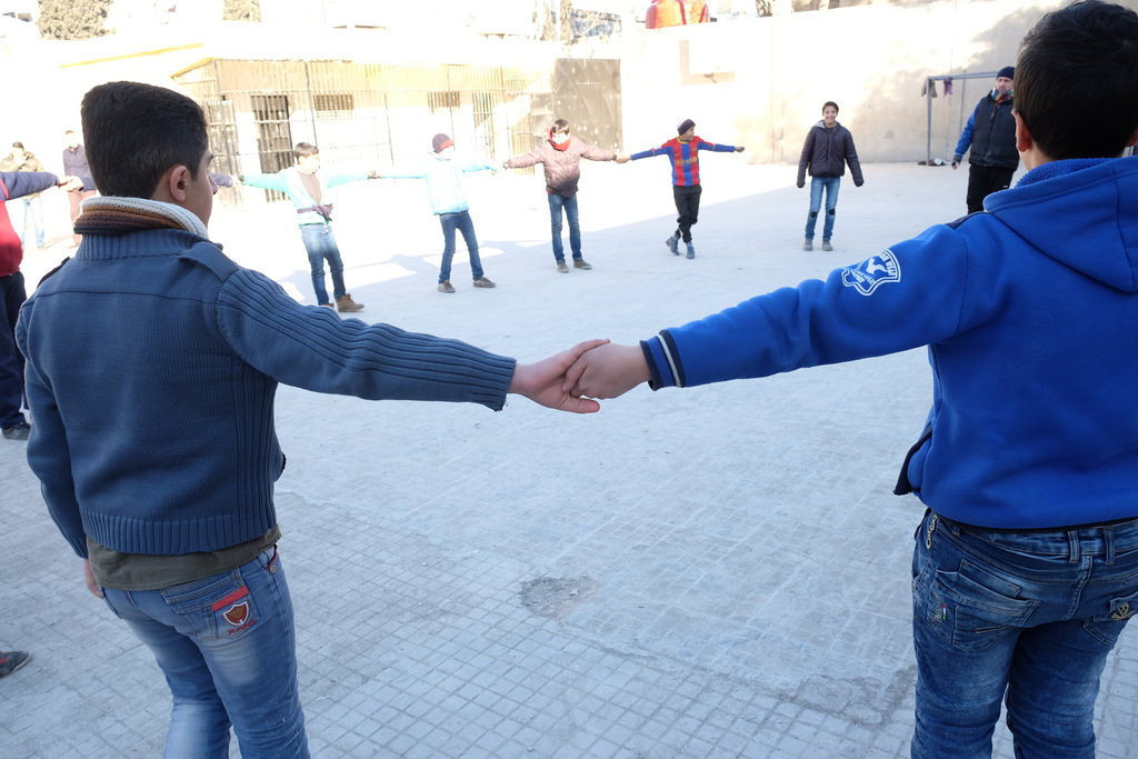 Caritas has provided kits and stationary to refugee students of Ibn Reshed School in West Aleppo. Photo by Patrick Nicholson/Caritas