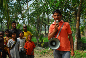 Tanjibul Hussain Sujon is a community volunteer in Bangladesh. Credits: Claire Goudsmit/ CAFOD