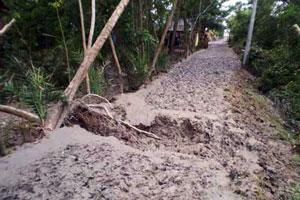 One impact of climate change is an increase in tropical cyclone. Photo shows the Cyclone Aila damage road in Kalapara, Bangladesh. Credits: Caritas