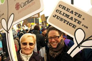 Sr. Aine Hughes of Caritas South Africa during the climate justice walk in Copenhagen Credits: Caritas
