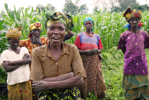 Marie-Josée (center), a beneficiary of Caritas project for the reintegration of women victims of war Credits: Worms/Caritas