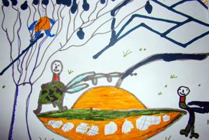 Children in Georgia paint drawings of peace. Credits: Caritas