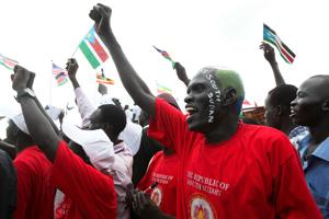 Delegations from around the globe helped usher in the world's newest nation the Republic of South Sudan, at the John Garang Memorial in Juba, South Sudan, on Saturday, July 9, 2011. Credits: Sara A. Fajardo/Catholic Relief Services