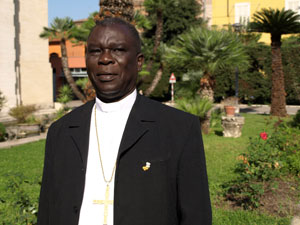 """""""The LRA attacked a parish near the border, burned the presbytery and beat up the missionary priests there. They had to flee to Sudan and then Uganda. Now they have fled to the safety of Italy because they're Italian,"""" Bishop Domba Madi says. Credits: Hough/Caritas"""