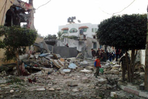 The aftermath of bombing in Al Maghazi Credits: Caritas Jerusalem