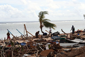 One of many beaches that were destroyed by the tsunami. It was one of the well known beaches in Lalomanu area. Credits: Christina Mareko/Caritas