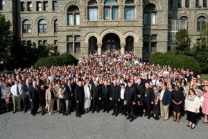 Saturday, September 25, 2010, over 1000 representatives from local Catholic Charities agencies and partner organizations recreated the 1910 photo of the founders of Catholic Charities USA on the steps of McMahon Hall at the Catholic University of America. Credits: Catholic Charities USA