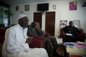 Archbishop of Bangui, Dieudonne Nzapalainga (R), addresses the president of Muslim Community, Imam Omar Kobine Layama (L) and Protestant Reverend Nicolas Gueret Koyama (C) on November 8, 2013 in Bangui. Credit: Matthieu Alexandre/Caritas