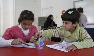 Informal education classes at a Caritas centre in Jordan include art. Danny Lawson/PA wire