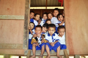 Children at a school in a camp for displaced people in Kachin State in northern Myanmar. Photo: Eoghan Rice/Trócaire