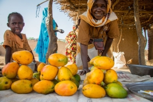 Niños en un campamento de refugiados del Darfur, en el que Caritas facilita ayuda a la agricultura.  Annie Bungeroth/Caritas