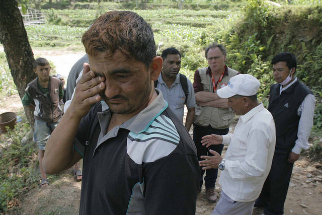 Ramjandra lost his wife and child in the earthquake. Credit: Matthieu Alexandre/Caritas Internationalis