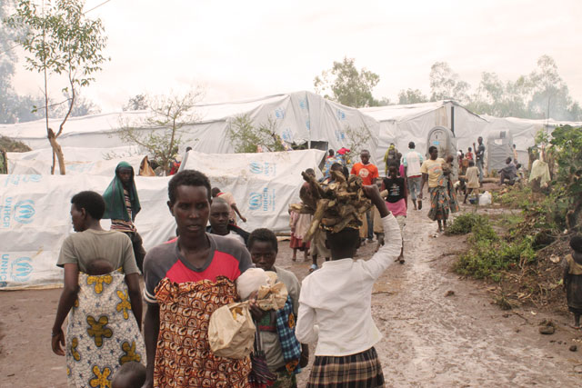 Refugee camp in Rwanda, where displaced Burundian families currently stay while fleeing political violence in their country. Photo by Caritas