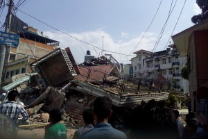 Collapsed near to Caritas Nepal office in Lalitpur Dhobighat in second earthquake.
