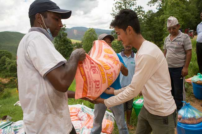 Caritas distributes WASH kit and food (rice, lentils, cooking oil)  in Kavre District.