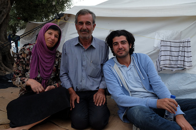 Shiar with his mum and dad in Kara Tepe transit camp on Lesbos. Credit: Patrick Nicholson/Caritas
