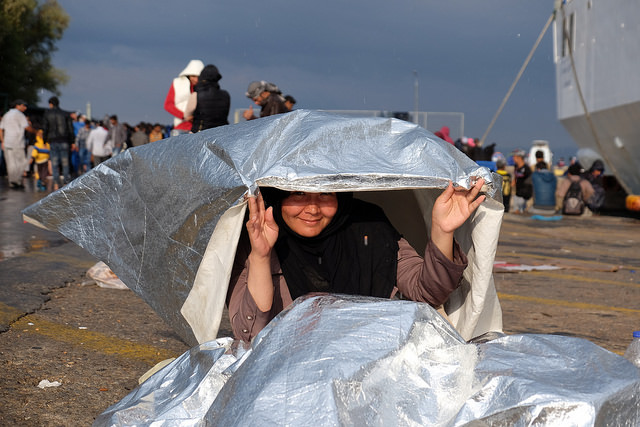 Bad weather threatens to make the lives of refugees and migrants even more uncomfortable as they pass through Lesbos. Credit: Patrick Nicholson/Caritas
