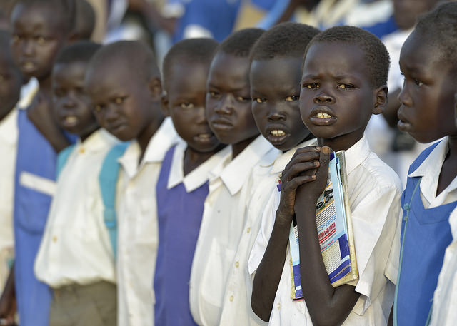 Students line up in the Caritas-supported St. Daniel Comboni School in Agok, South Sudan. Photo by Paul Jeffrey/Caritas
