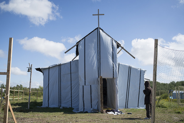 When Secours Catholique gave refugees and migrants the tools and materials to build shelter in a camp in Calais, they used them to build five mosques and a church. Credit: Elodie Perriot/Secours Catholique