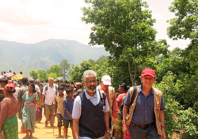 Caritas Nepal director Fr Pius Perumana took part in an aid distribution in Sindhupalchok to earthquake survivors. Photo by Caritas Nepal