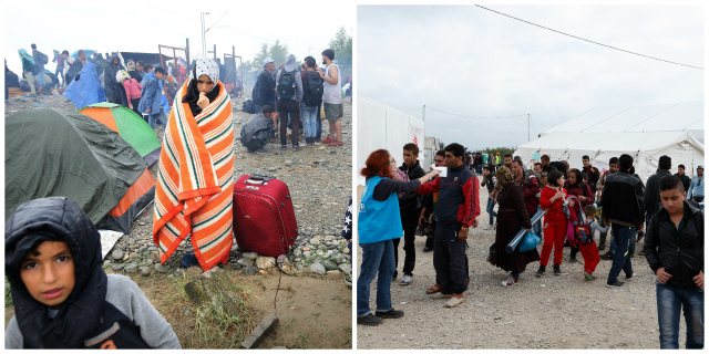 The Idomeni crossing in the early days of the crisis (Photo by Arie Kievit/Cordaid) and in late October with aid operations up and running (Paul Haring/CNS/Caritas)