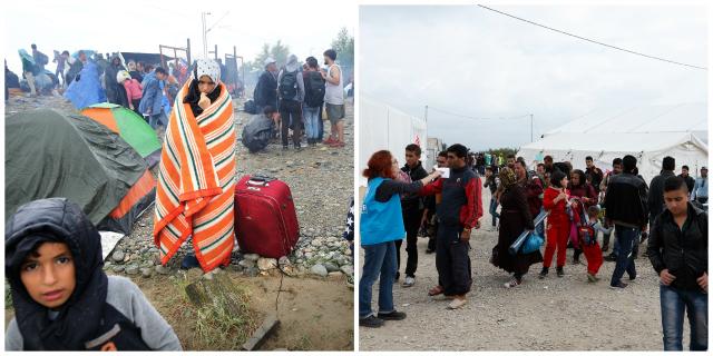 El cruce fronterizo de Idomeni a principios de la crisis (Foto de Arie Kievit/Cordaid) y a finales de octubre con las operaciones de socorro ya en marcha (Paul Haring/CNS/Caritas)