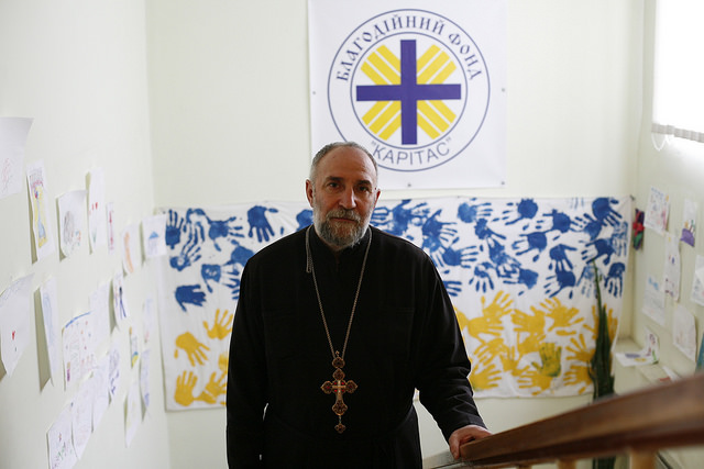 """People have lost their health, their incomes, their homes and their psychological well being,"" said Fr Vasyl Pantelynk of Caritas Dnipropetrovsk"