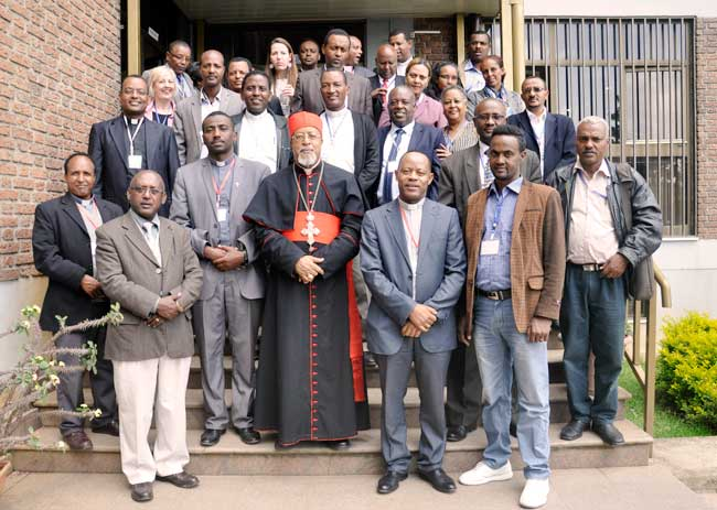 Participants of the Ethiopia Catholic Church Partners' annual coordination discuss about coordinated effort to respond to current food  security situation in Ethiopa. Photo by Caritas Ethiopia