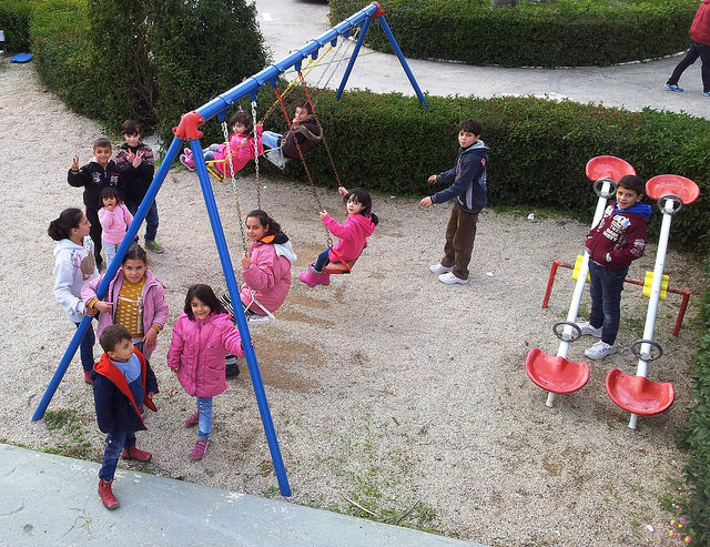 Refugee and migrant children playing at the Caritas-supported Silver Bay Hotel in Lesbos. Credit: Caritas