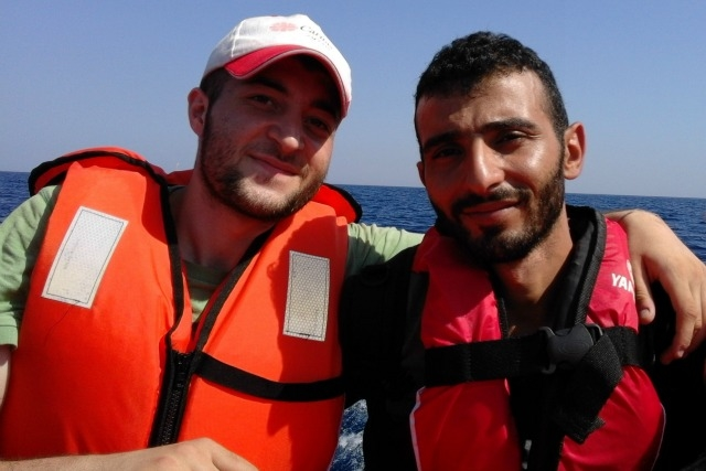 Modar and his brother crossing from Turkey to Greece. Credit: Caritas