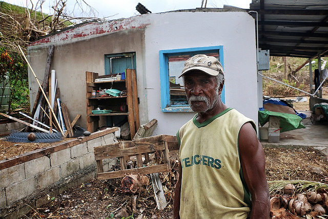Scenes of devastation and of life continuing on Viti Levu Island, Fiji following Cyclone Winston. Sakobo Waqa (68) lives alone in a valley near Rakiraki. He has experienced cyclones before, but nothing like this he says. Credit: Mark Mitchell/ Caritas Aotearoa New Zealand
