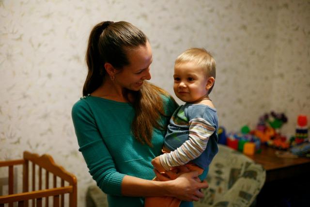 Nina Serdyuk and Vlad have made a fresh start. Credit: Matthieu Alexandre/Caritas