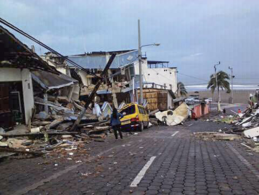 A 7.8 earthquake hit the near the town of Portoviejo, Ecuador, on Sunday April 17, 2016. it's the strongest in the country since 1979, it flattened buildings and buckled the highways along the country's Pacific coast and killing hundreds. CRS and it's partner Caritas are responding to the earthquake with assessments and relief. Photo by Alexandra Moncada/Catholic Relief Services