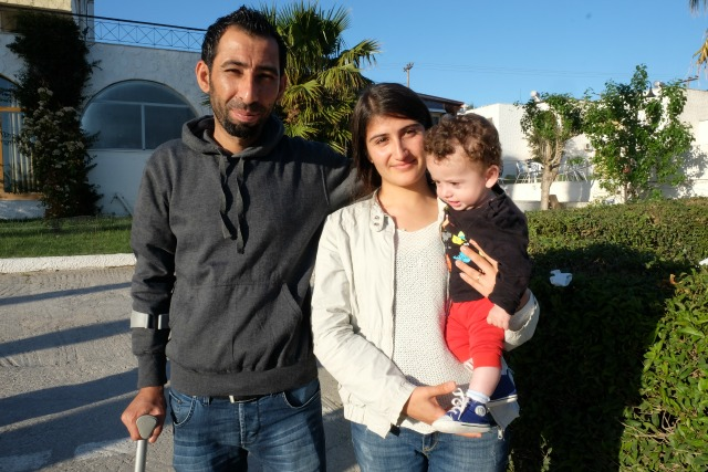 Afran and his family staying in the Caritas hotel on Lesbos. Credit: Patrick Nicholson/Caritas