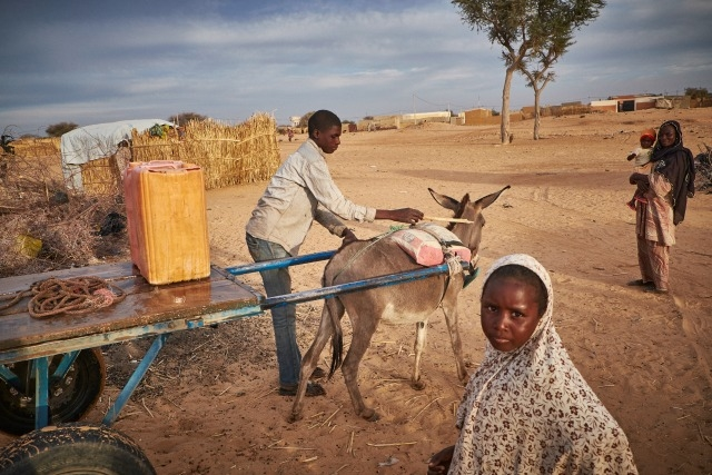 A boy delivers water at a camp of displaced people in the neighbourhood of Chateau, Diffa, Niger. Photo by Sam Phelps/Caritas