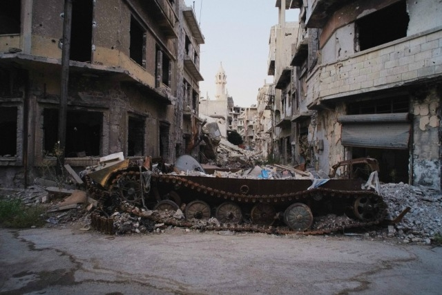 Pope Francis lamented the world's failure to deal with wars in Syria and Iraq. Homs war damage. Credit: Eddy van Wessel/Cordaid