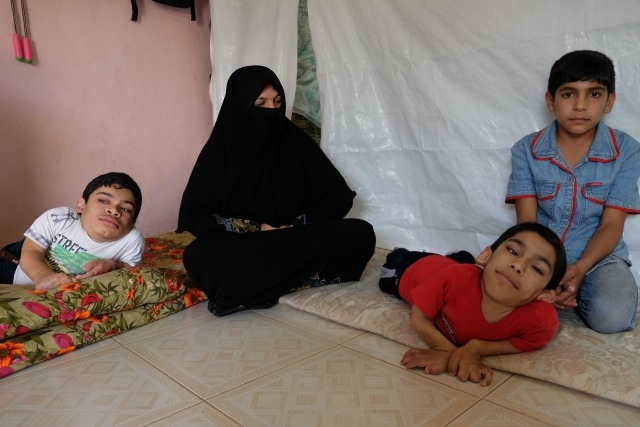 Yusra and her boys. They recieve winterisation and food aid from caritas in Hatay. Credit: Patrick Nicholson/Caritas