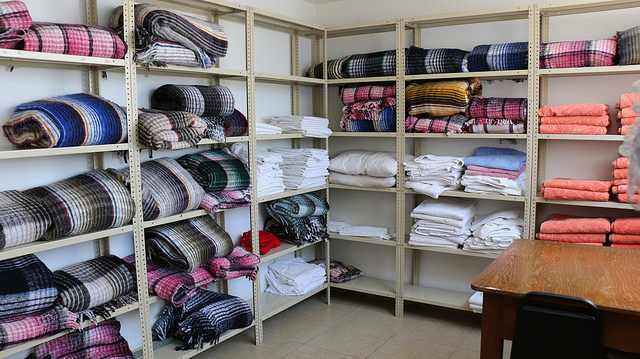 Pillows and blankets for migrants at Casa del Migrante. Photo by Caritas Mexico
