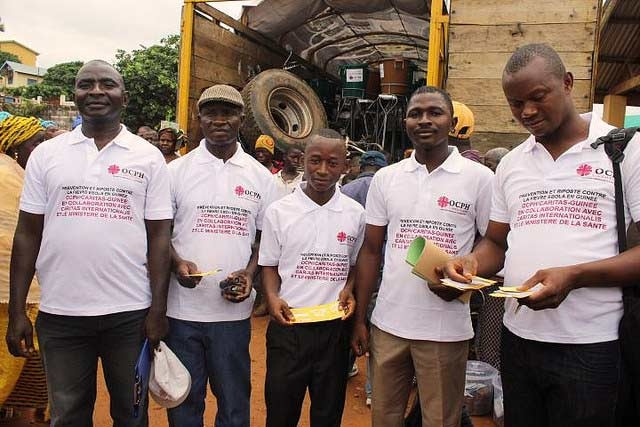 Caritas is distributing hygiene materials and teaching people about Ebola prevention.