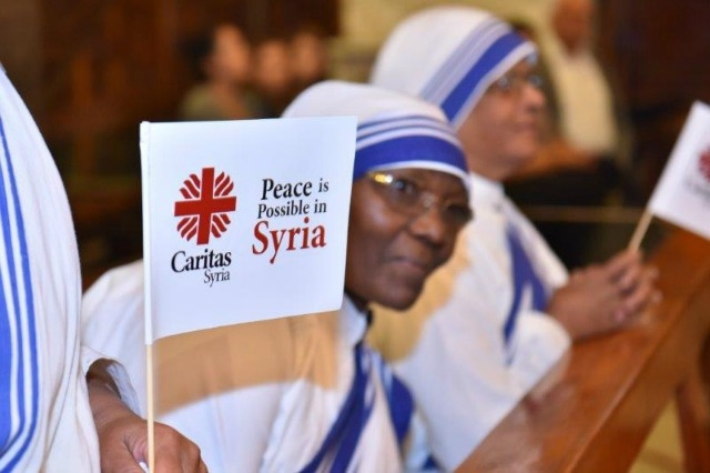 The Cry for Peace event included prayers, music from a combined scout band, theatre, films and a special message from Pope Francis. Credit: Caritas Syria