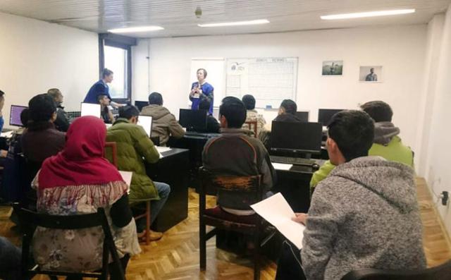 Caritas Croatia and JRS organise language classes for asylum seekers in Porin.