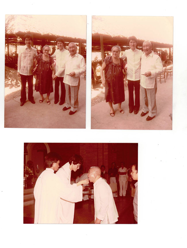 Cardinal Tagle with his grandfather and his grandmother at his Presbyteral ordination in 1982.