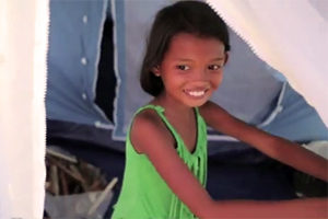 A young girl in need of water in Philippines after Haiyan