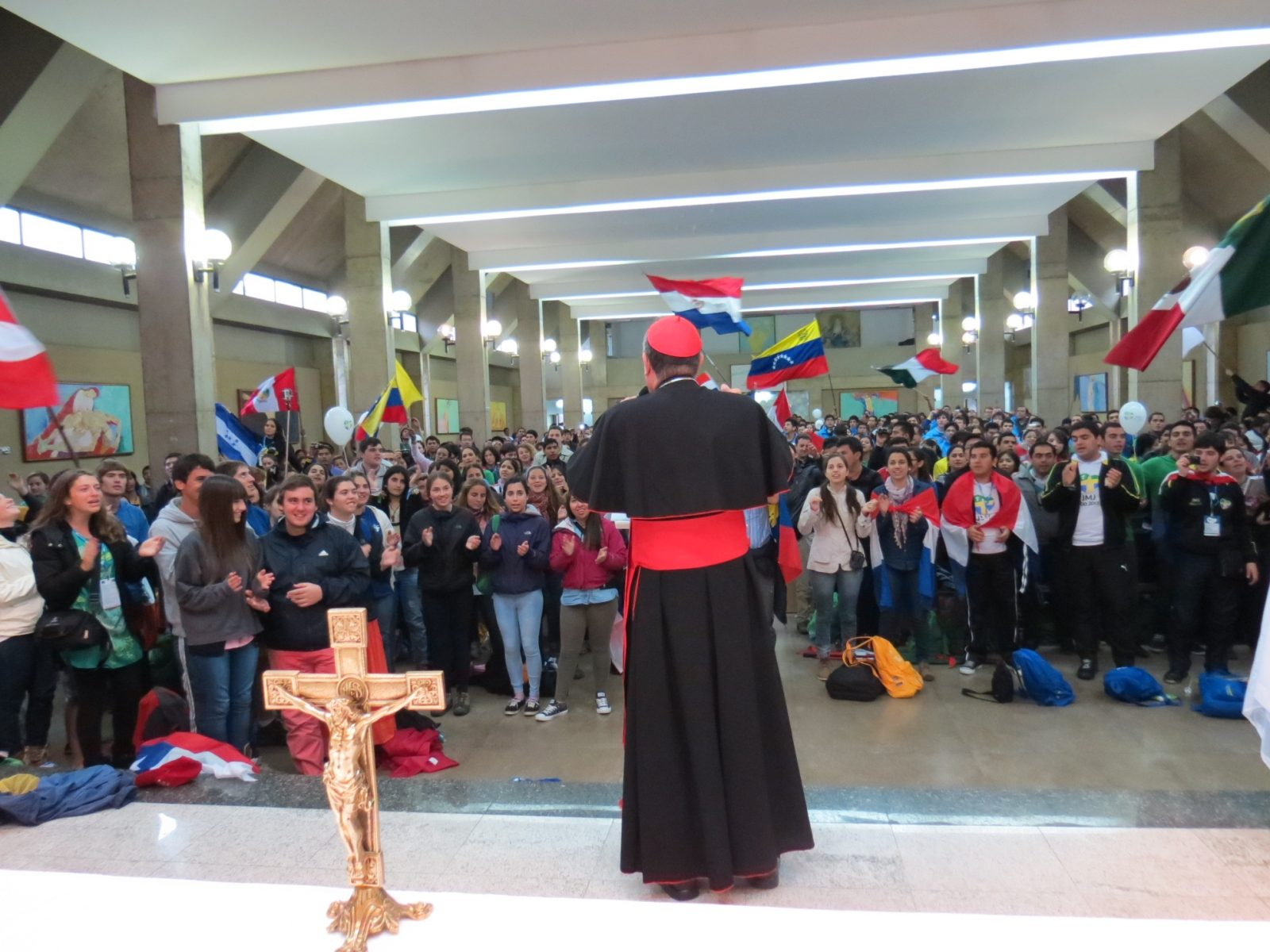 Young pilgrims fly the flag for Latin America