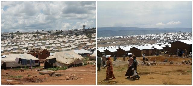 Mahama en 2016 et le camp d'aujourd'hui.
