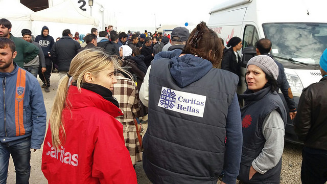 Caritas increases the number of chemical toilets, and its distribution of aid such as clothes, shoes and nappies.