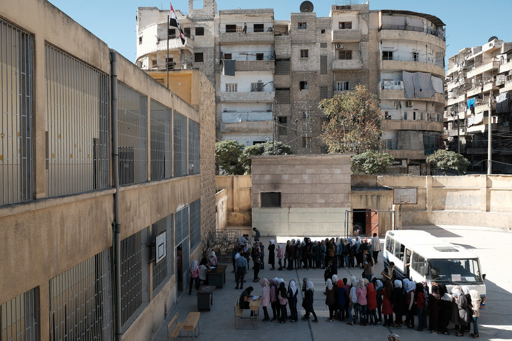 A school on former frontline of conflict in Aleppo.