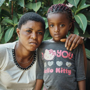 Mispa Mkpe and her daughter Helen Duchess fled their village in Cameroon because of violence.